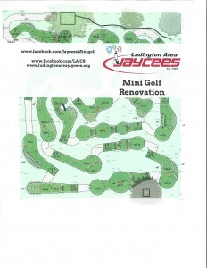 Diagram of the renovated Ludington Area Jaycees Mini Golf Course at Stearns Park